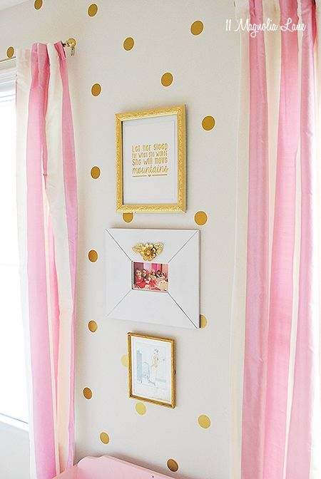 Gold and Pink Polkadot Girl\'s Room | Boutique decor, Room and Room ...