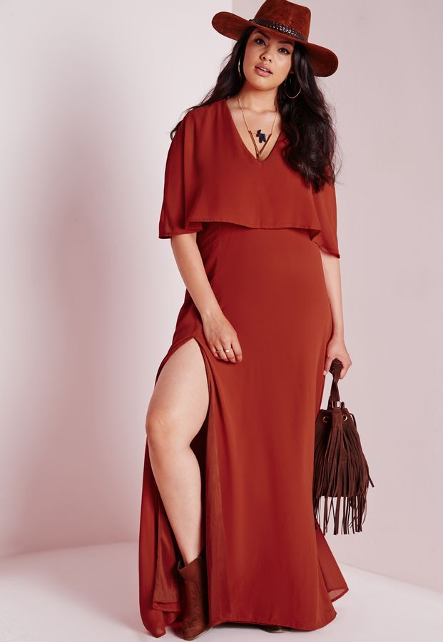 Plus Size Side Split Maxi Dress Rust