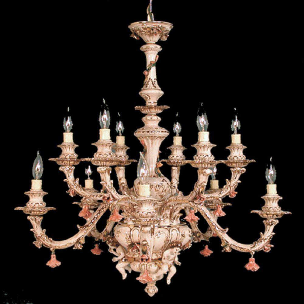 Capodimonte Italian Porcelain Chandelier 12 Lights 3 Cherubs Finish Choice Ceilingfixtures