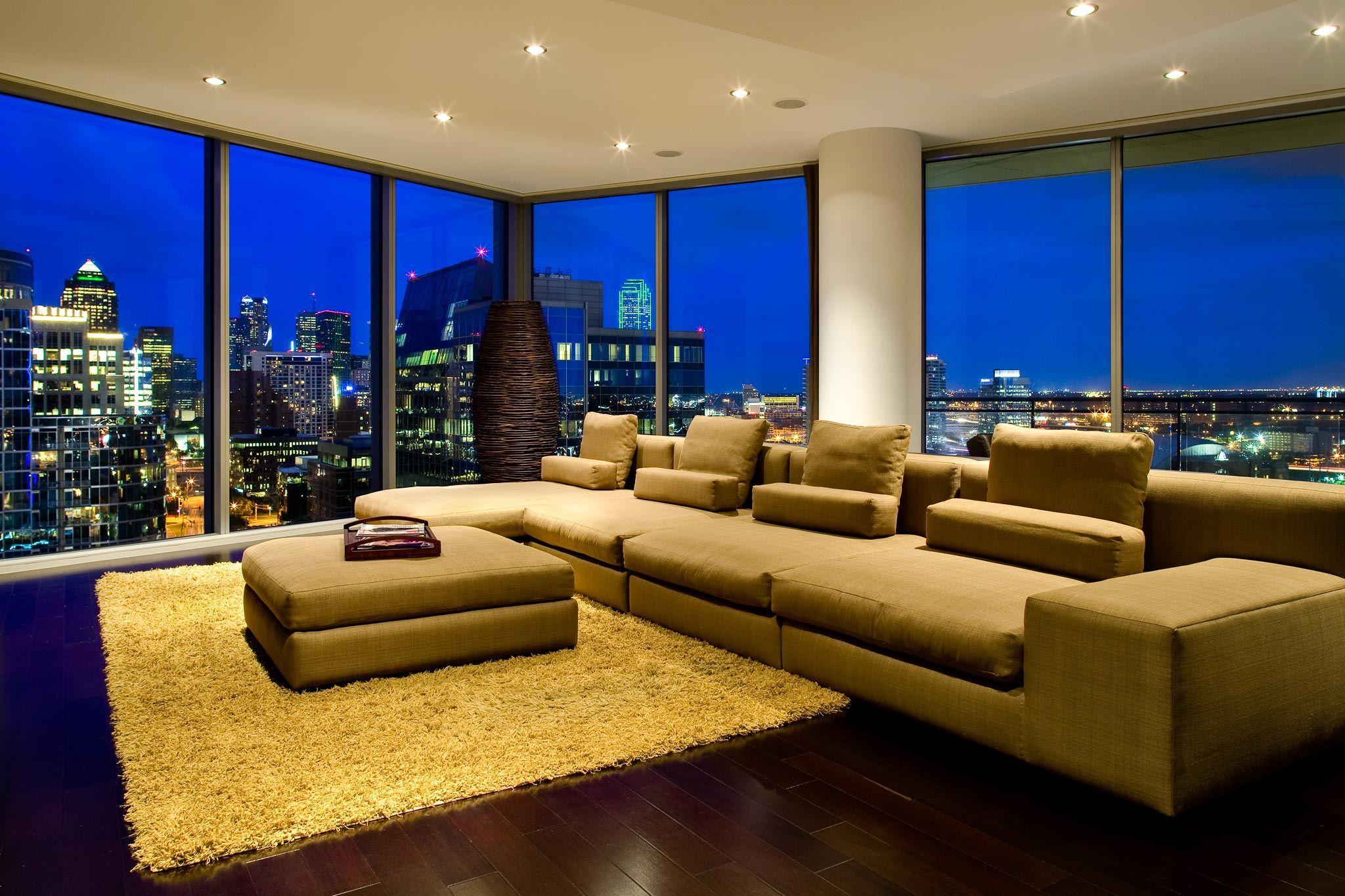 Highrise luxury condo living room design ideas city view