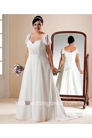 Sweetheart Beaded Chiffon Plus-Size Wedding Dress