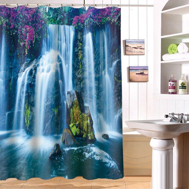 180x180cm Flow waterfall printing shower curtain photo shower curtain 3D personalized custom shower curtain