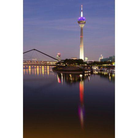 Tower at a harbor Rheinturm Tower Media Harbour Dusseldorf North Rhine Westphalia Germany Canvas Art - Panoramic Images (27 x 9)