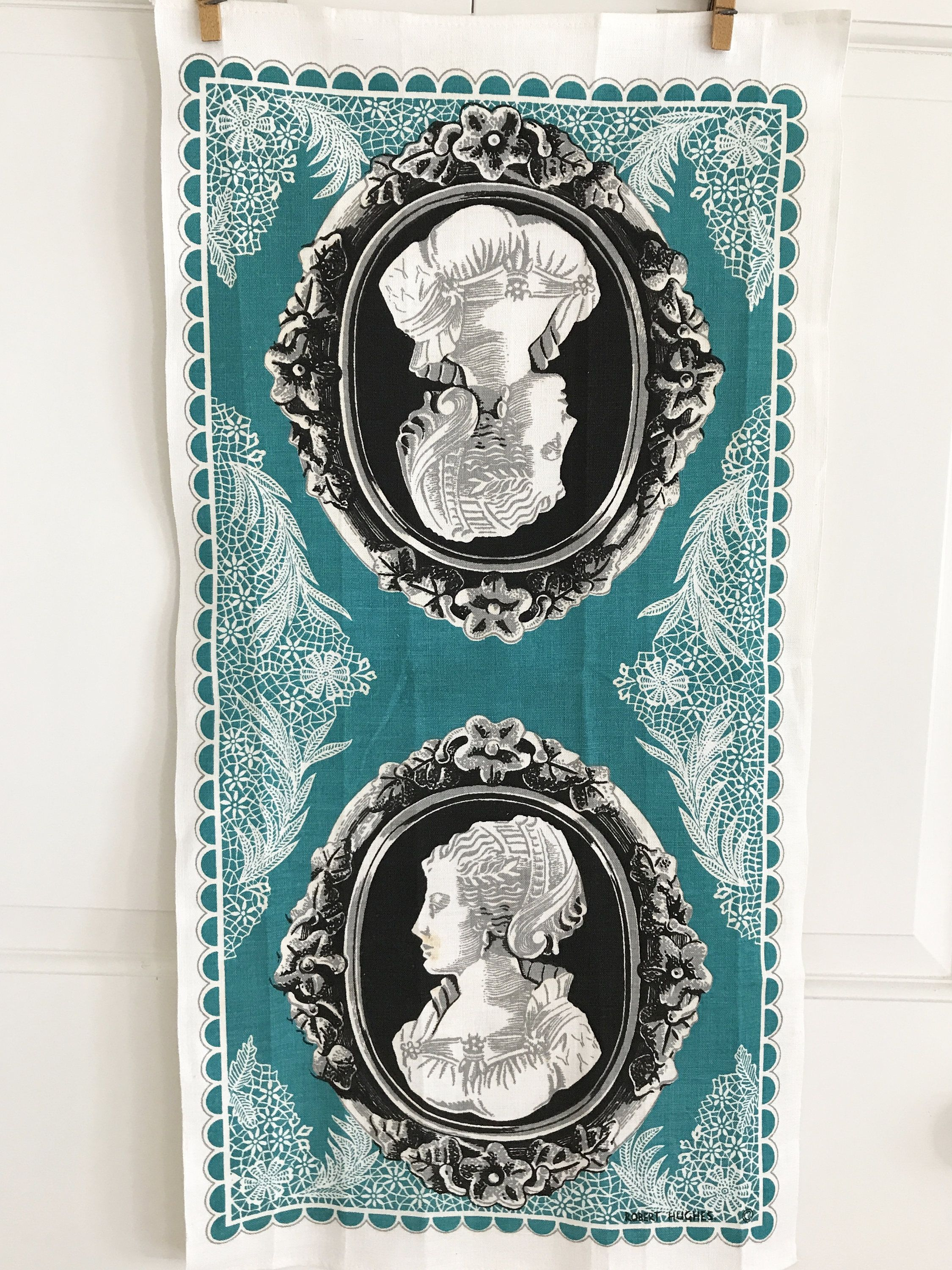 Linen Tea Towel Black Cameo Portrait Woman Wall Hanging Textile