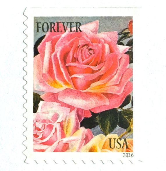 10 Unused Pink Rose Forever Postage Stamps Vintage Botanical Print For Mailing Wedding Invitations Save The Dates And Cards Face Value