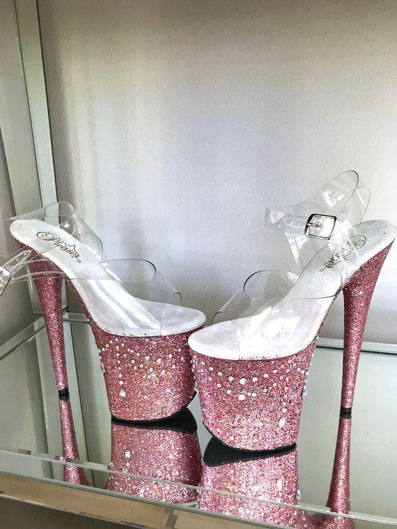 1e6cb3bb39ae4 Pink Chandelier Glitter Pole Dance / Stripper Heels / Pleaser in ...