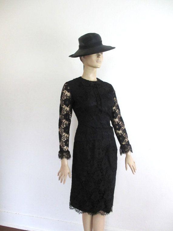 50's/60's Vintage Black Lace Skirt Suit medium