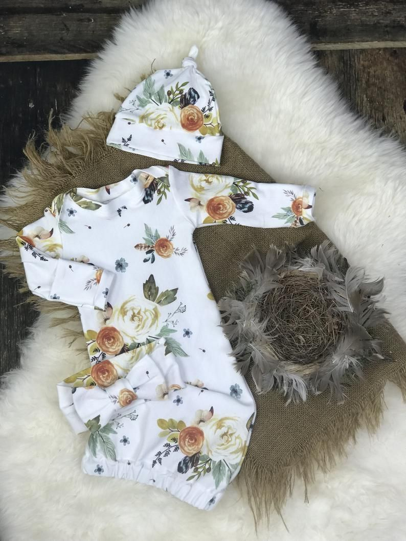 Photo of Newborn Girl Coming Home Outfit, Baby Girl Coming Home Outfit in Earth Tones, Watercolor Floral Gown, Sleeper, Premie Girl, Baby shower, bow