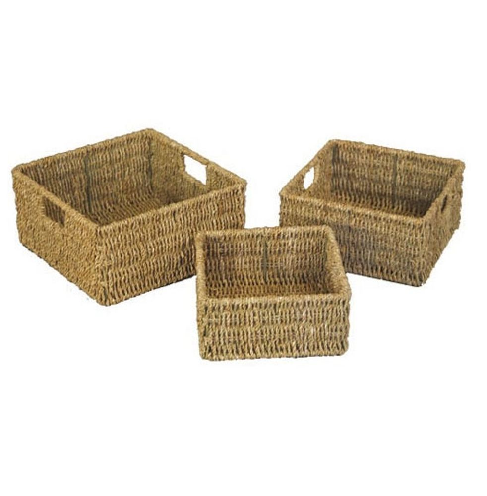 JVL Set Of 3 Natural Seagrass Square Storage Baskets With Inset Handles