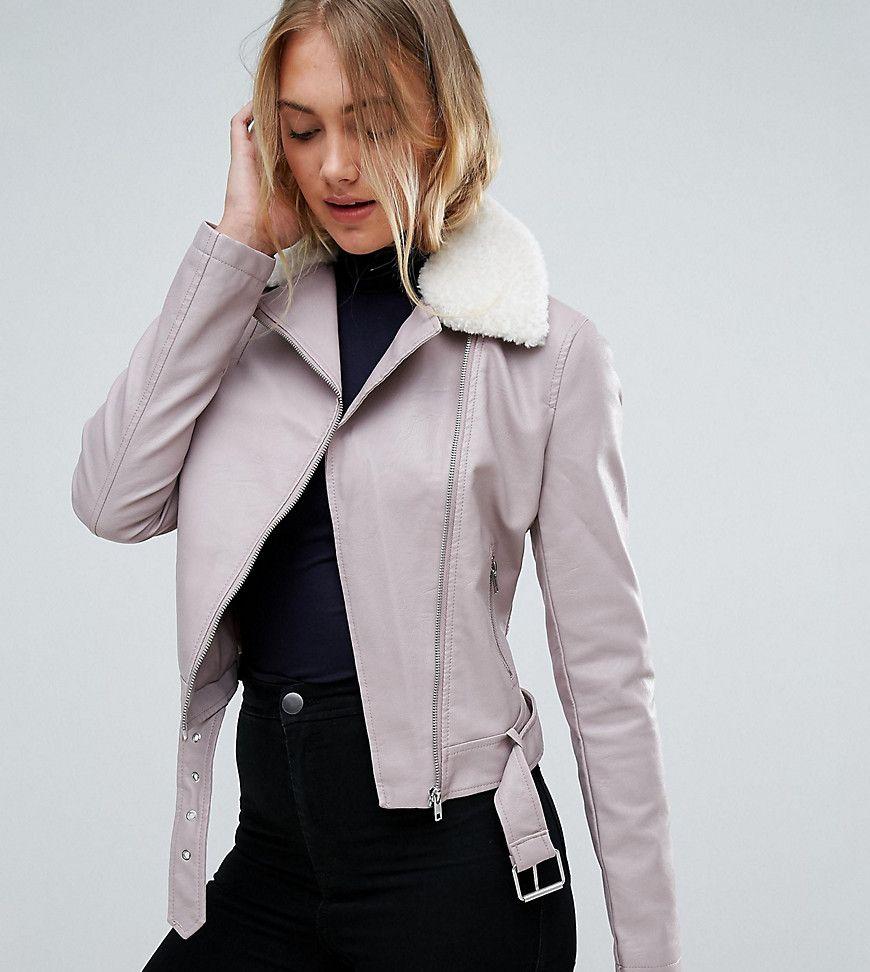 b47c8a1c422b New Look Tall Faux Leather Shearling Collar Biker Jacket - Brown