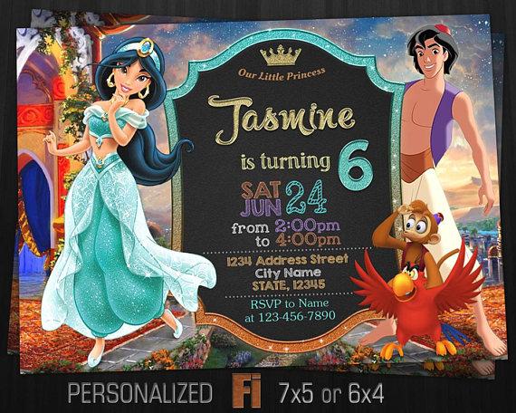 Printable Jasmine Birthday Invitations ~ Jasmine invitation jasmine birthday party aladdin princess