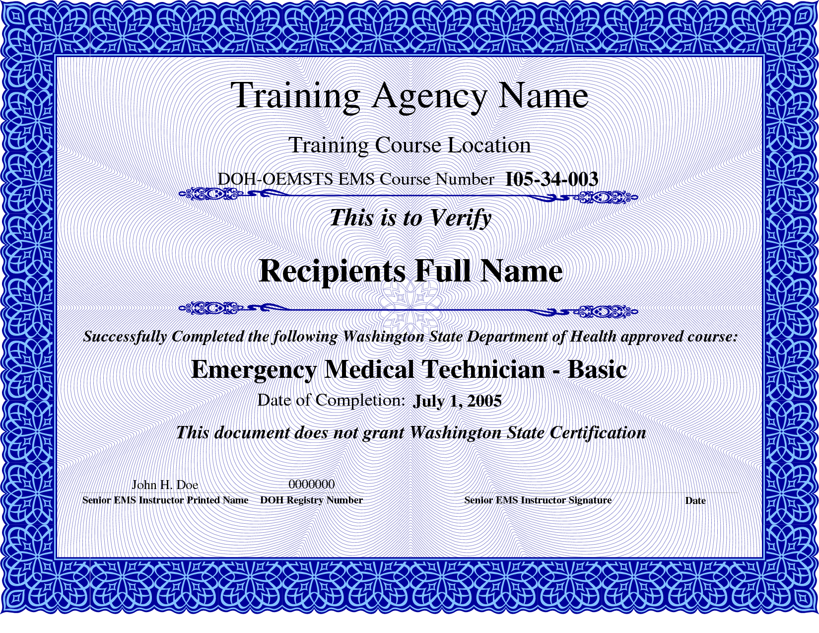Templates certificates ems course completion certificate templates certificates ems course completion certificate template blue pdf yadclub Choice Image