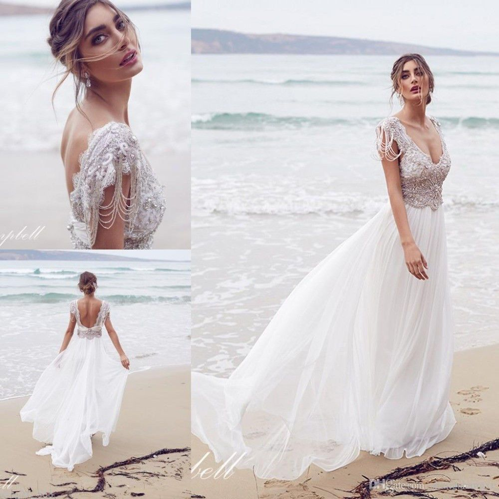 Praia Branco Marfim Vestido de noiva de renda e chiffon, vestido de ...