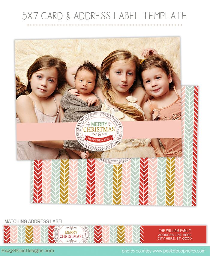 Christmas Holiday Card Photoshop Templates for Photographers ...