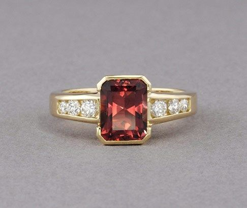 Pink Maine Tourmaline & Diamond Ring