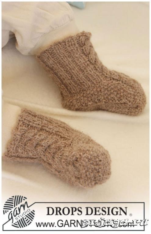 мягкие и теплые носочки для новорожденных спицами с подробным