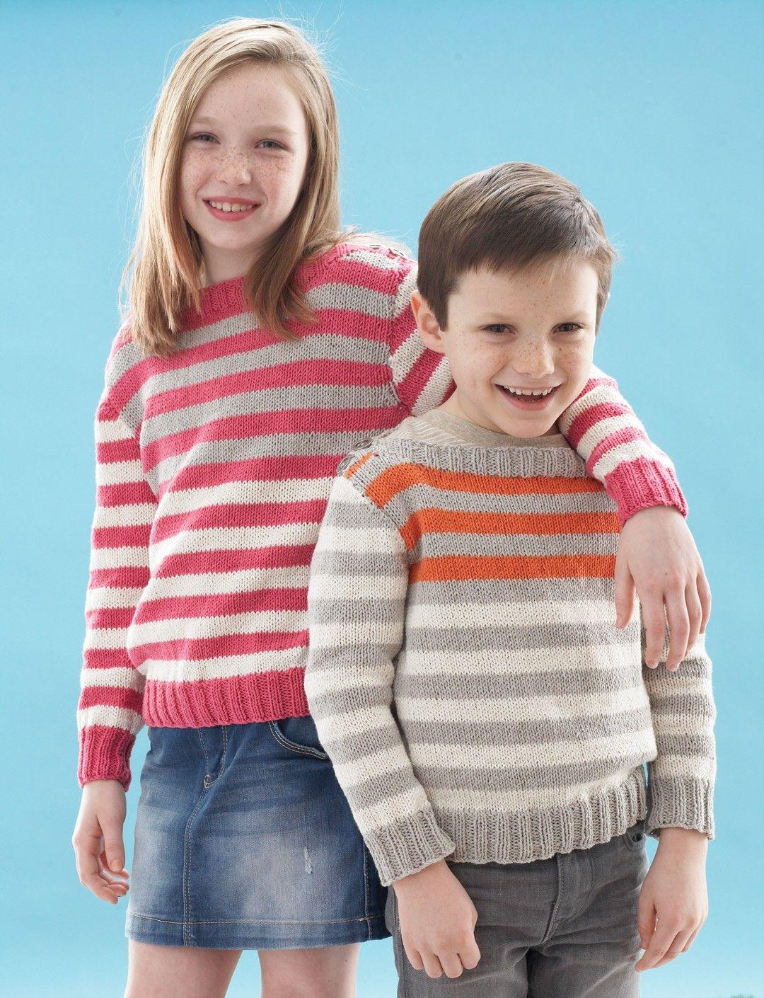 Yarnspirations.com - Bernat Happy Stripes Pullover - Patterns ...