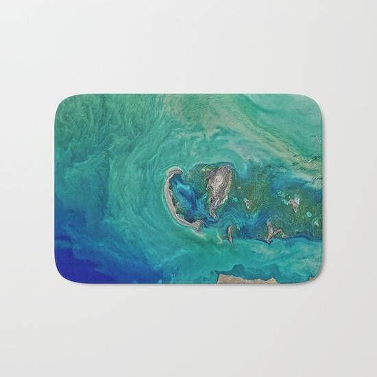 Turquoise Blue Green Shower Mat Blue Ocean Bath Mat Blue - Blue and green bath rug for bathroom decorating ideas