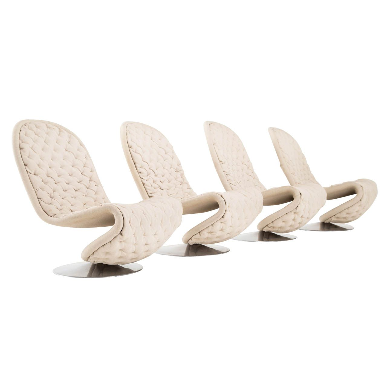 Set Of 4 Verner Panton System 1-2-3 Loungechairs in Beige Wool | From a unique collection of antique and modern lounge chairs at http://www.1stdibs.com/furniture/seating/lounge-chairs/