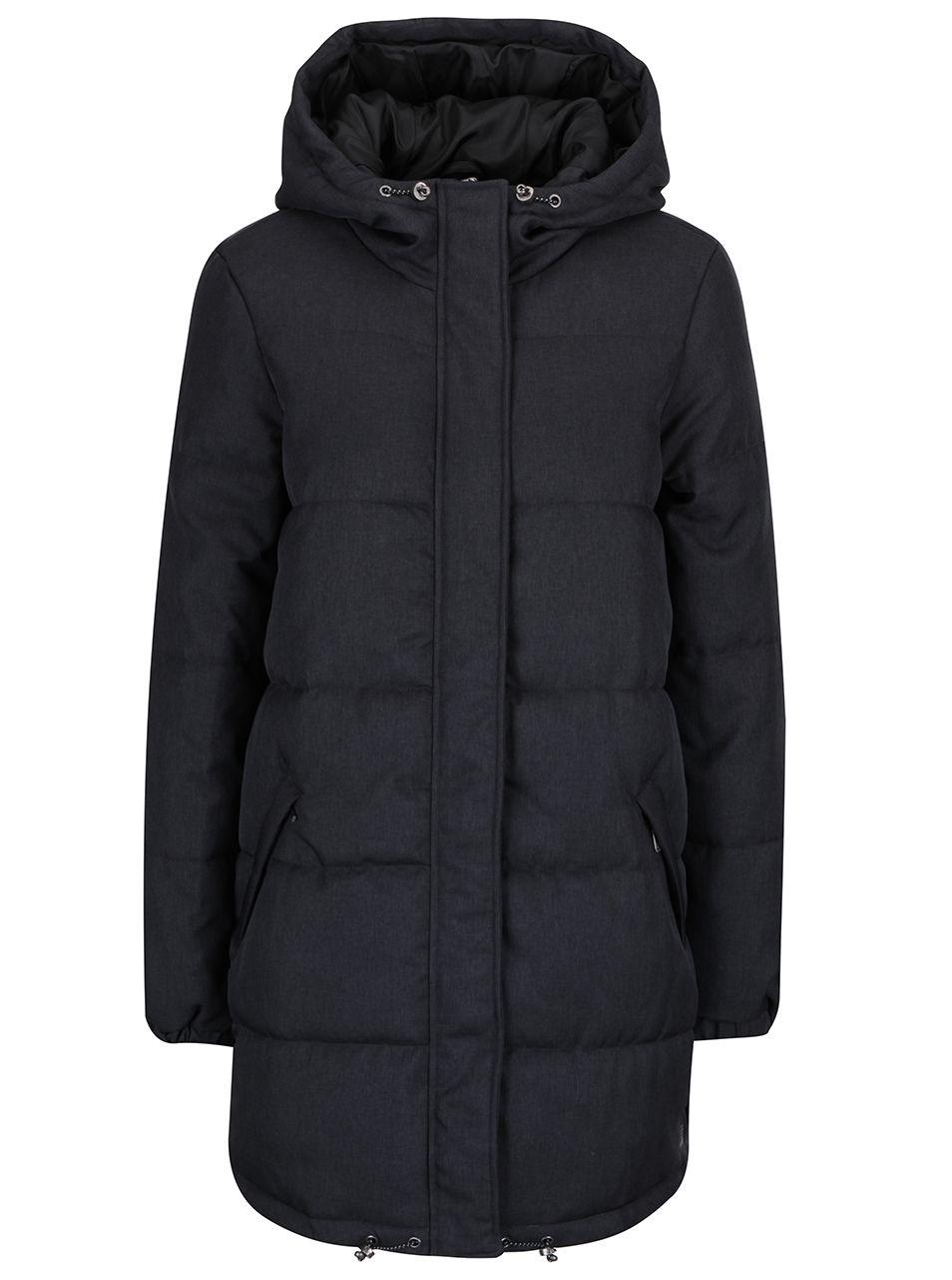 Tmavosivý prešívaný kabát s kapucňou Vero Moda Ricarda  b77cd111548
