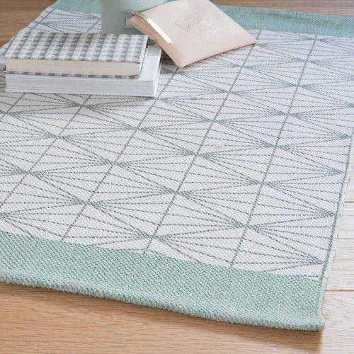 Vloerkleed, grijs/groen, 60 x 90 cm, ELUA Vloerkleed