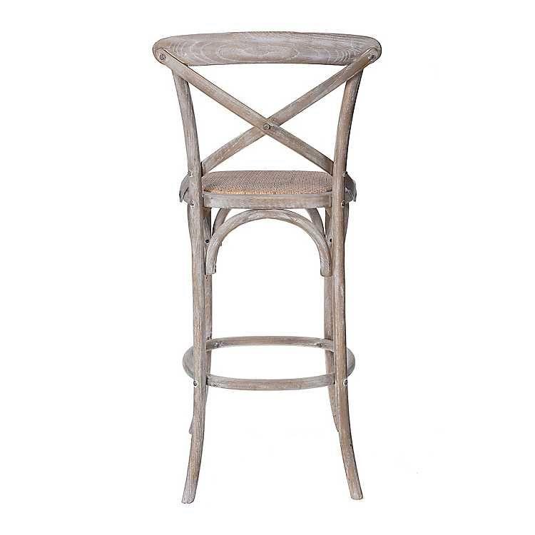 Gray Wood X Back Rattan Seat Bar Stool Rattan Bar Stools Grey