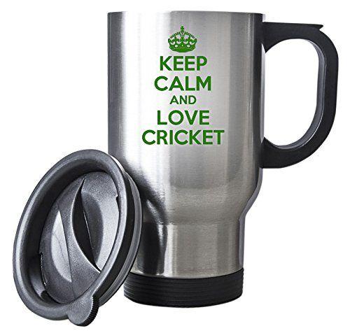 Green Keep Calm And Love Cricket Silver Travel Mug