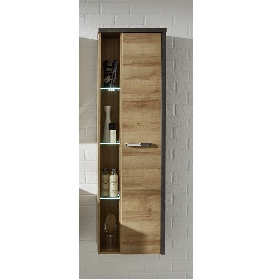Bayern Wall Mounted Bathroom Cabinet In Acacia Dark With Led Bathroom Cabinets Designs Bathroom Cabinets With Lights