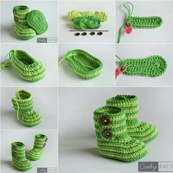 DIY Green Zebra Crochet Baby Booties with Free Pattern | häkeln ...