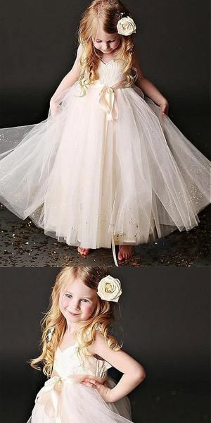 Photo of Sweetheart  Floor-length Spaghetti Straps Tulle Flower Girl …