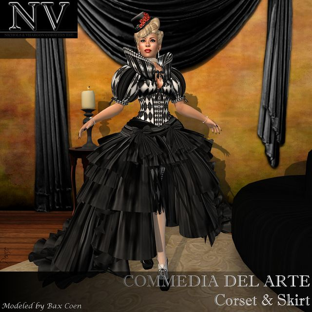 NV Commedia dell'arte  - Gothic Columbine Corsets and Outfit  by Peace Edenflower, via Flickr