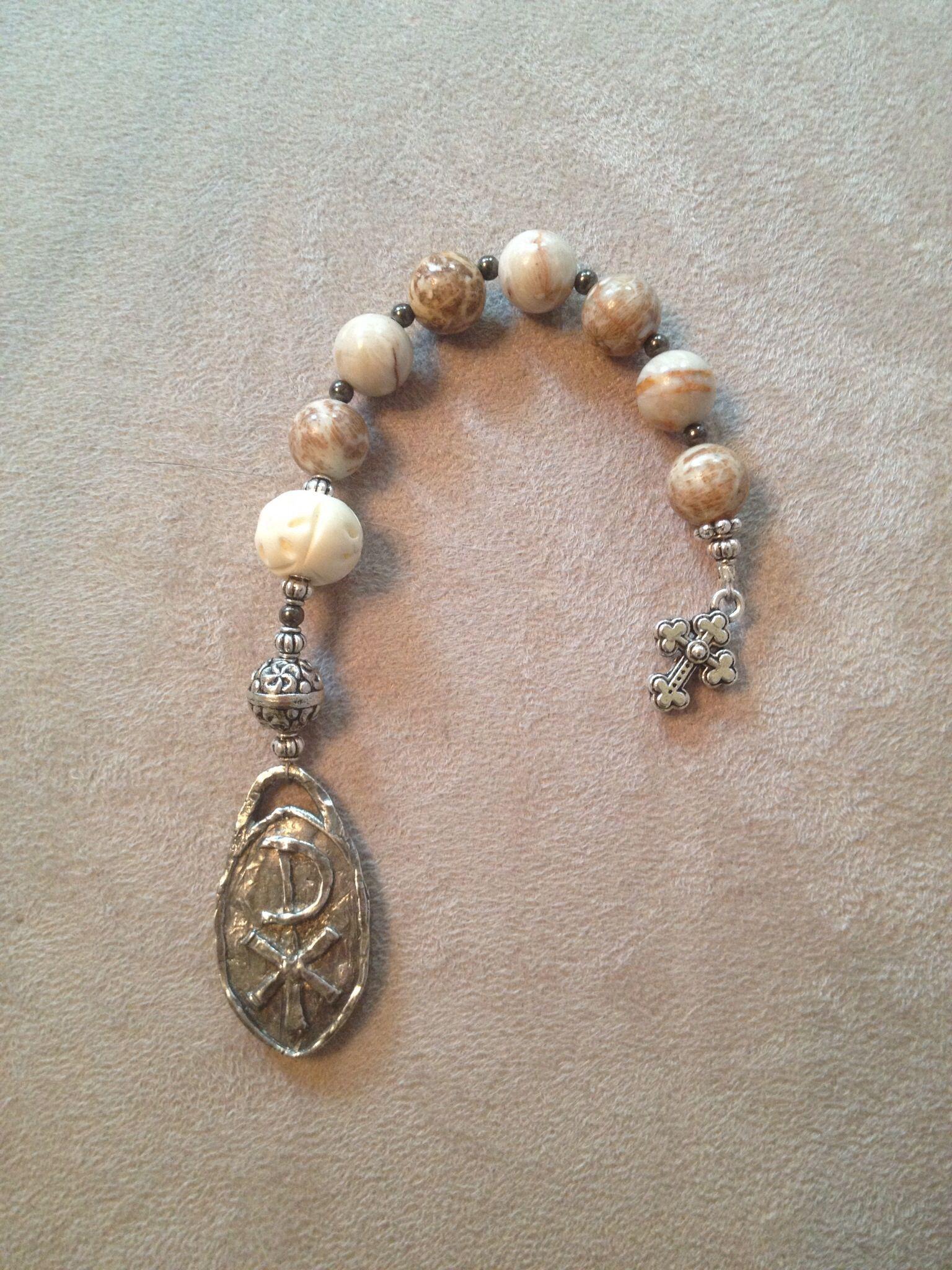 Handmade pocket design Christian prayer beads.