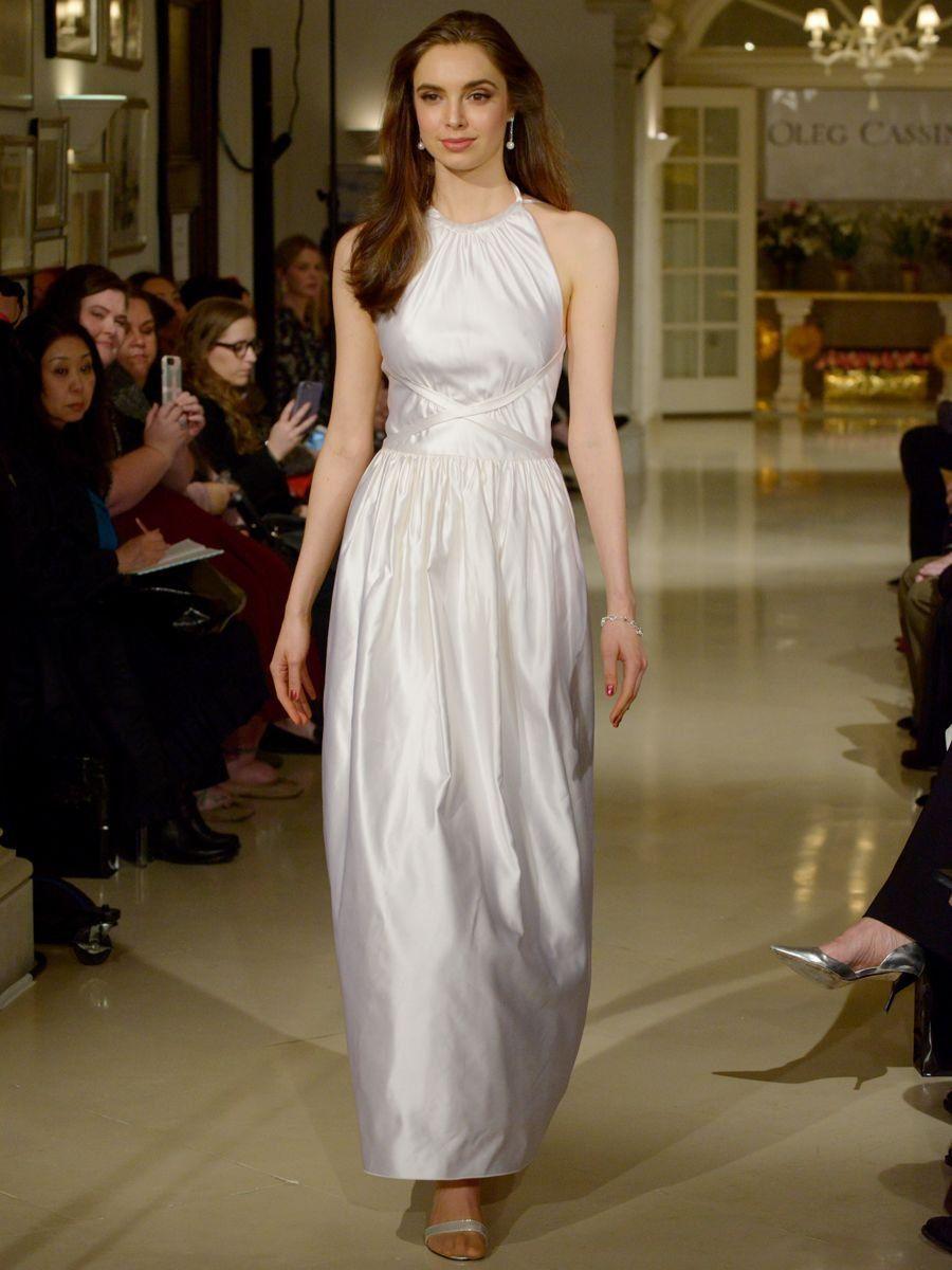 38eedb99c7e Oleg Cassini Spring 2019 wedding dress with a high halter neckline