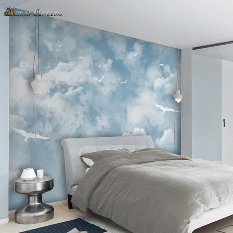 Abstract Blue Sky White Colors Sky Wallpaper Wall Mural Beautiful Sky Scene With Soaring Seagulls Bedroom Living Room Wall Mural Wall Decor Wall Color Combination Bedroom Wall Designs Blue Rooms