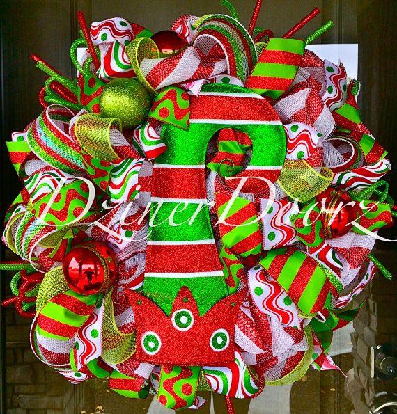 e2047901e49 Elf Hat Christmas deco mesh Wreath by DzinerDoorz on Etsy