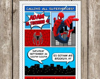 Spiderman invitation superhero spiderman birthday party items similar to spiderman print fleece blanket and pillow set on etsy stopboris Choice Image