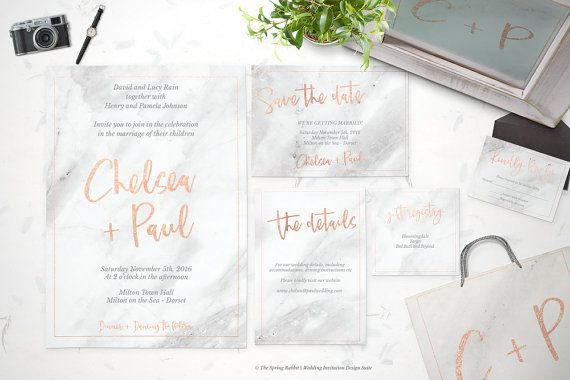 Rose gold and marble Printable Wedding by TheSpringRabbit on Etsy