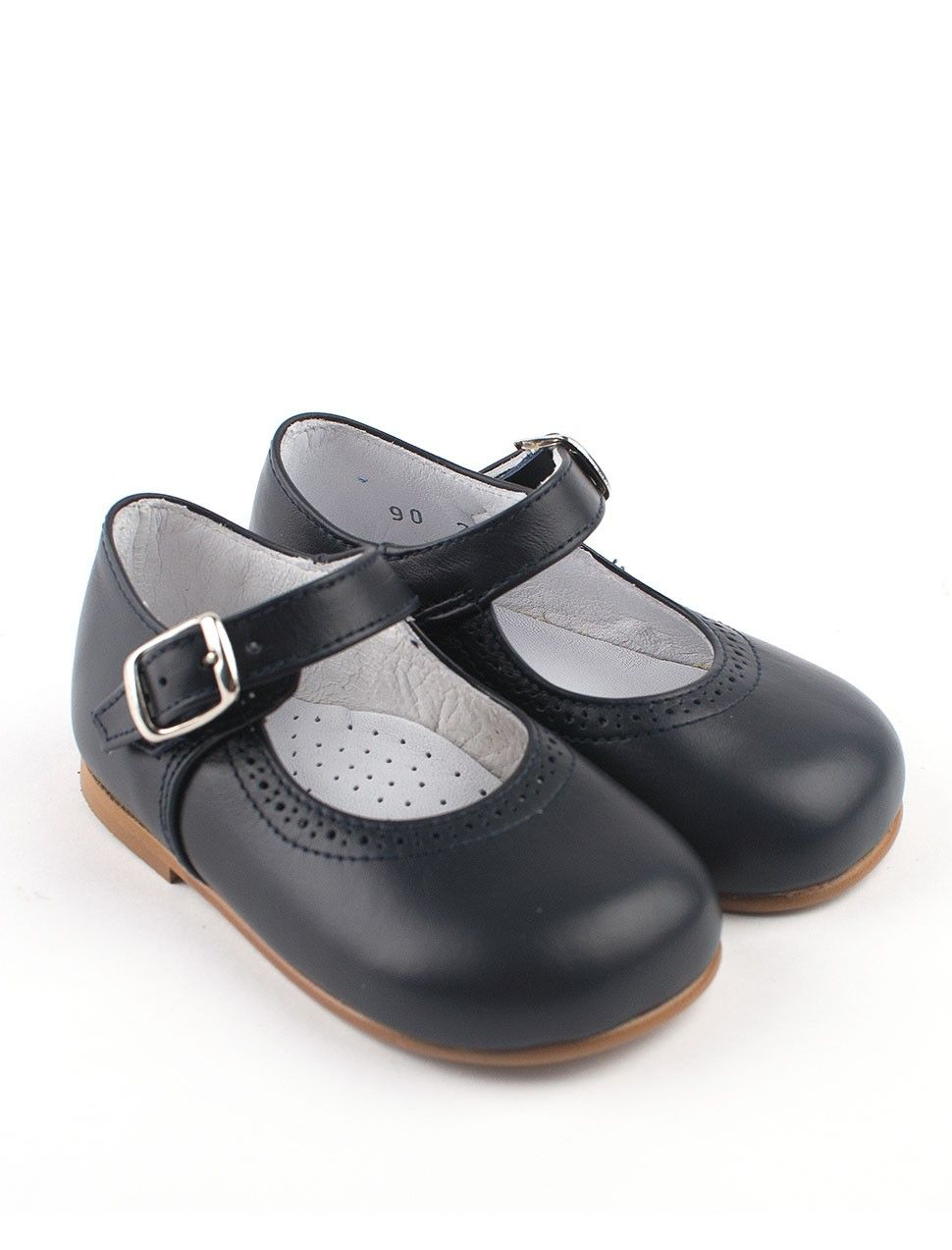 f389be7dfe9e7 handmade classic navy blue leather girls shoe | sapatinhos | Little ...