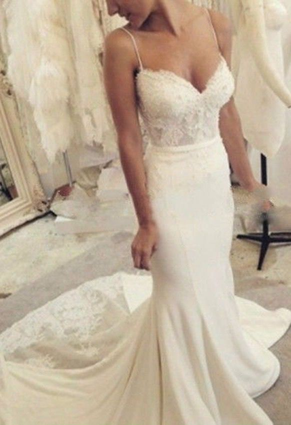 Brilliant 2019 Tight Fitted Chiffon Reception Mermaid Wedding Dresses Sweetheart Sexy Split Bridal Gowns Spaghetti Straps Real Photo Weddings & Events