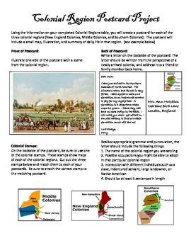 Colonial Regions Postcards Project Social Studies Social Studies