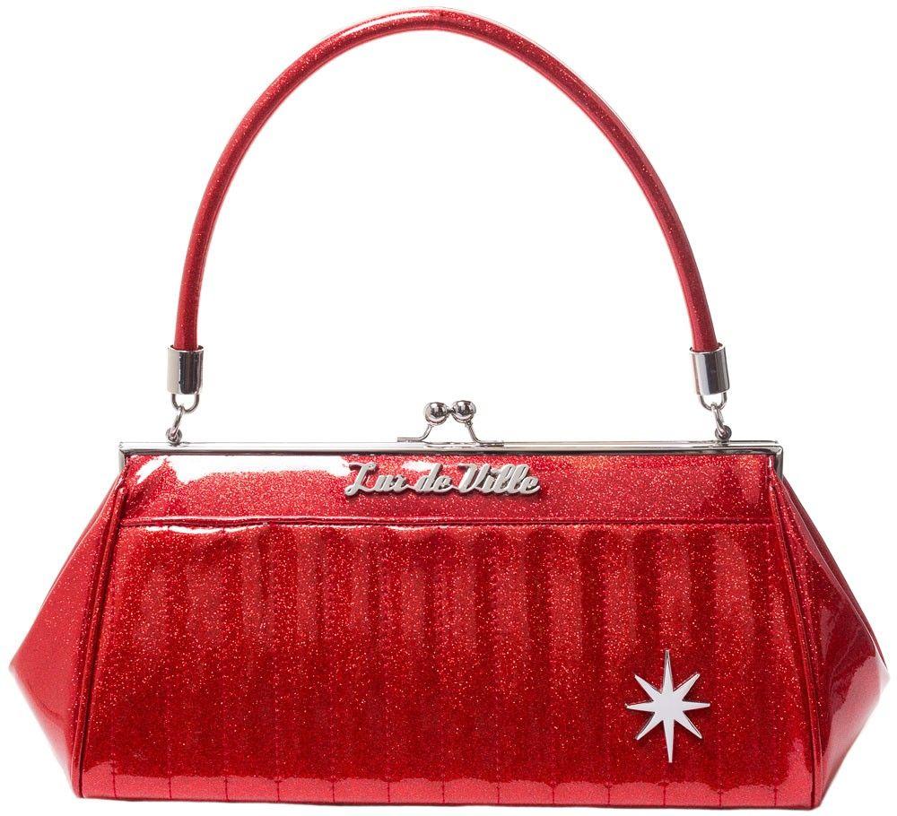 7fa78dce91 LUX DE VILLE STARDUST KISS LOCK PURSE RED SPARKLE $84.00 #luxdeville #pinup  #retro #purse #handbag #rockabilly #sparkle #red #starburst