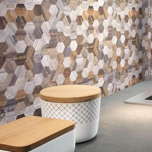 Modern Wood Hexagon 1 X 1 Pvc Metal Peel Stick Mosaic Tile Wood Hexagon Wood Panel Walls Modern Wood