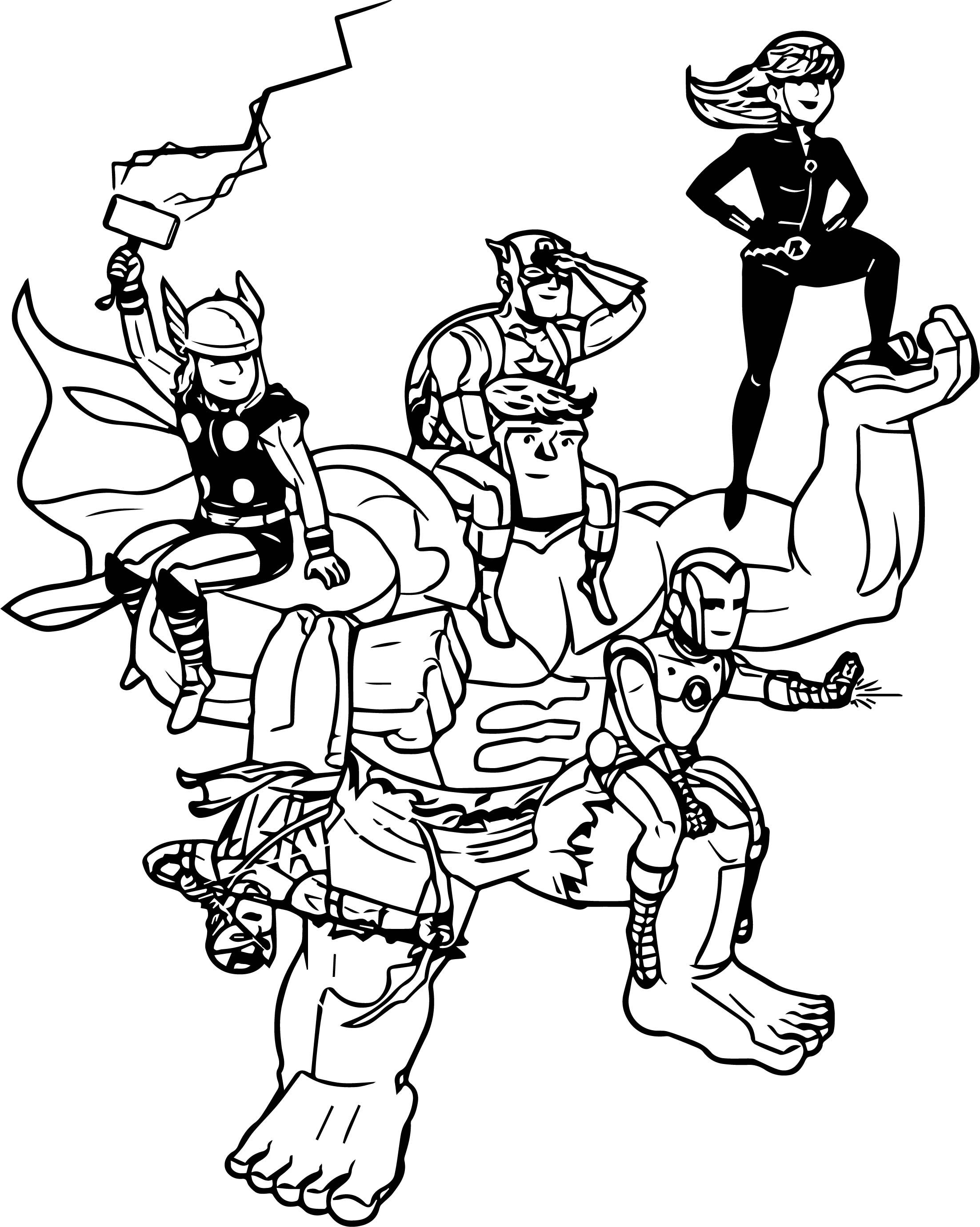 nice Avengers Happy Characters Coloring Page | Cartoon ...