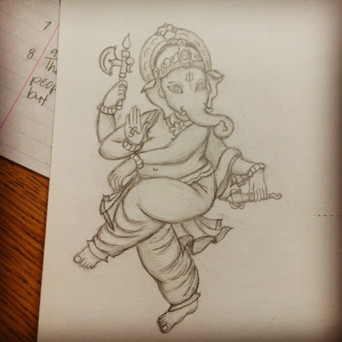 Pencil drawing ganesha cute