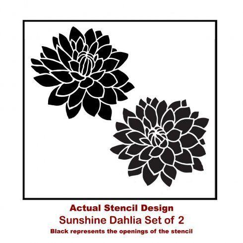 Sunshine Dahlias 2 Piece Wall Art Stencil Kit Stencil Wall Art Floral Wall Stencil Floral Stencil