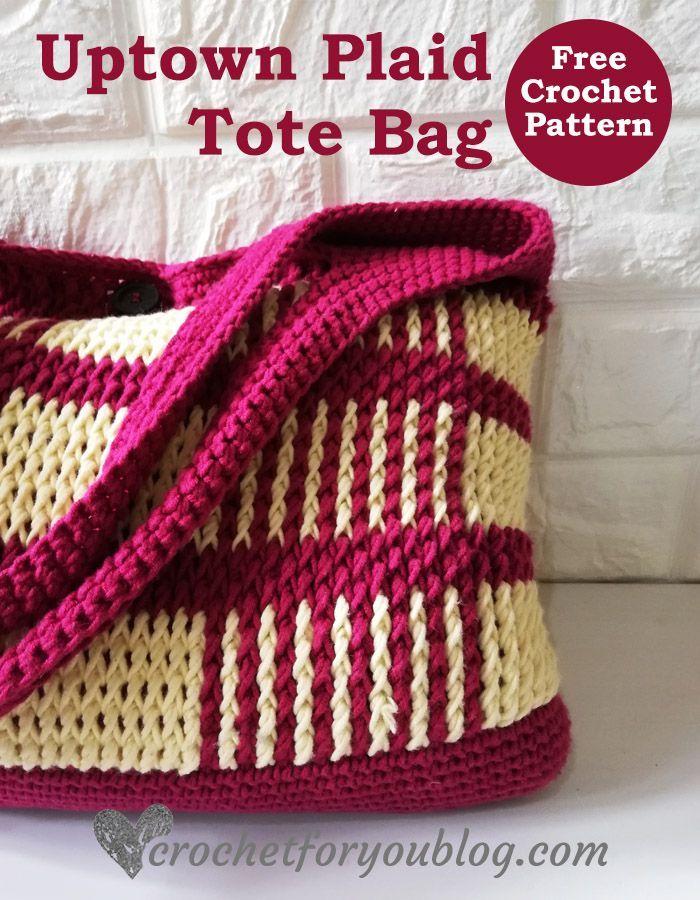 Crochet Uptown Plaid Tote Bag Patrón Gratis
