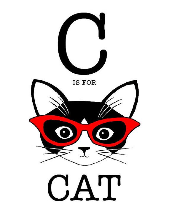 C is for Cat 8 x 10 Art Print by cathypeng on Etsy, $20.00