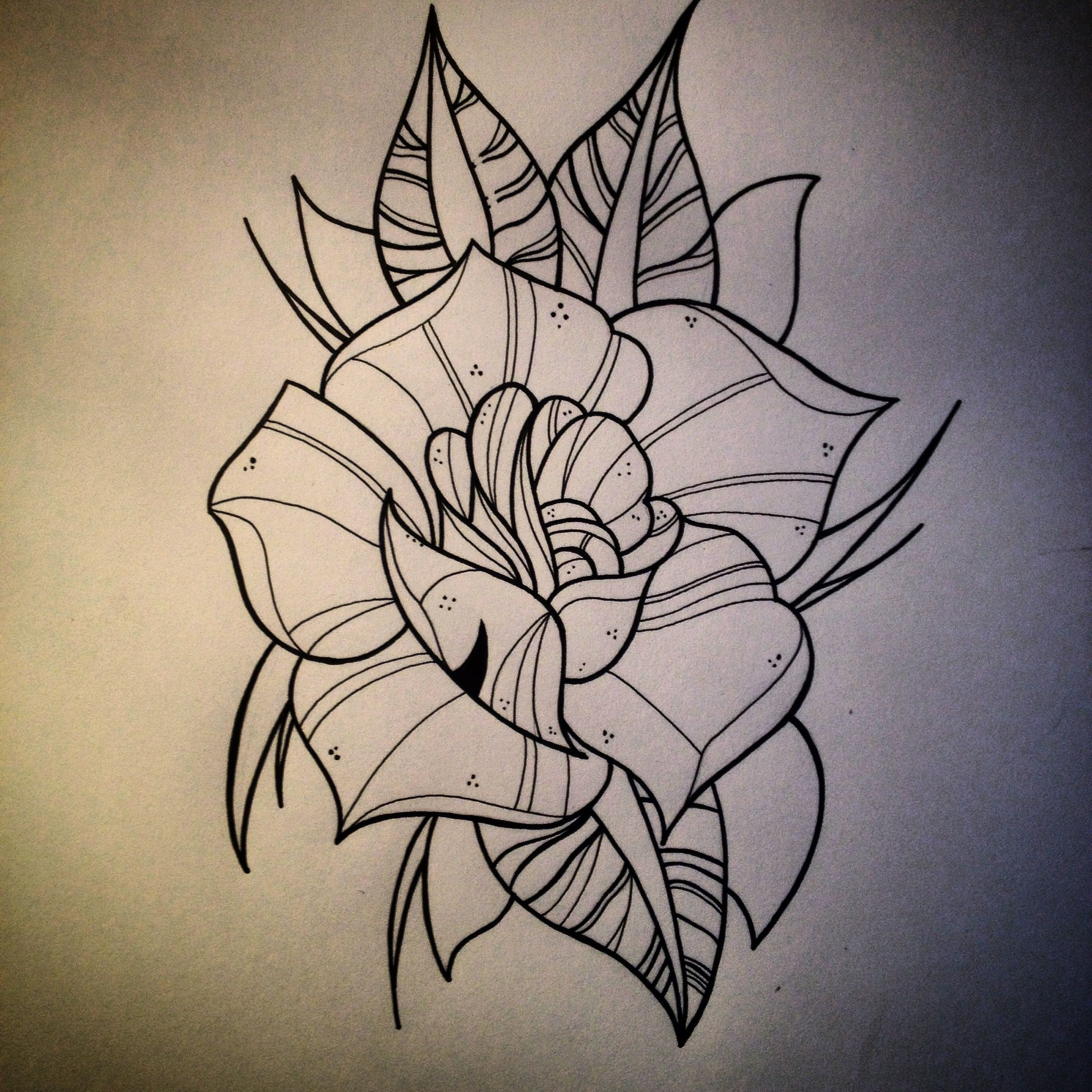 neotraditional rose outline drawing rose pinterest