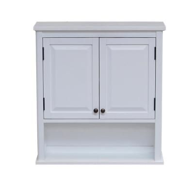 Alaterre Furniture Dorset 27 In W Wall Mounted Bath Storage Cabinet With 2 Doors And Open Shelf In White Bathroom Storage Units White Bathroom Storage Bathroom Storage