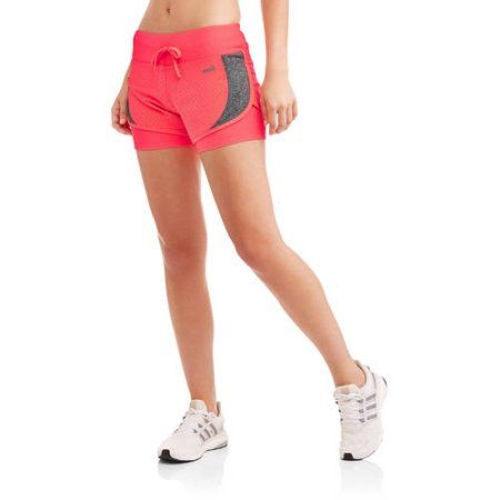 ad2297157ff33 Avia Women's Active Flyaway Running Shorts with Built-in Compression Layer,  Pink